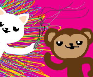 LSD cat feeds brown ape drugs.