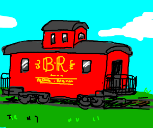 The caboose of a train