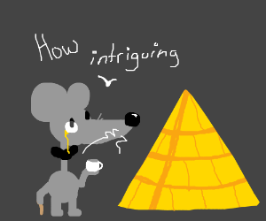 Mouse entriqued by Egyptian archetecture