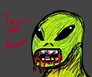 trick-or-treating alien loses teeth