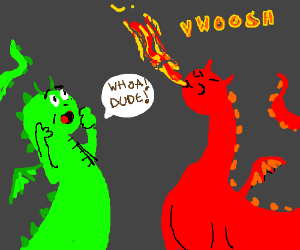 Green dragon watches Red dragon breathe fire