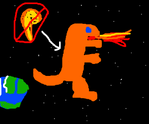 Wingless Charizard breathes fire in space