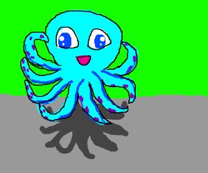 levitating cute octopus