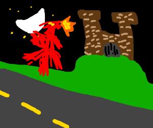 a dragon near a castle at night