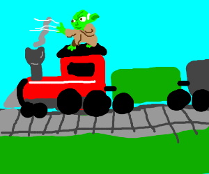 Yoda uses the force to drive a train