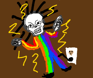 Electrocuted by rainbow suit!