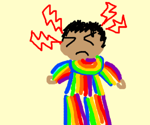 Person wearing tons of rainbows has a headache