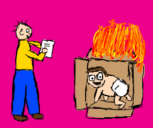 man watches baby play in a box on fire