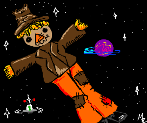scarecrow floats around space