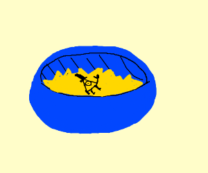 Bill Cipher hides in a bowl of tortilla chips