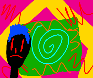 Strange fellow inside an abstract classroom