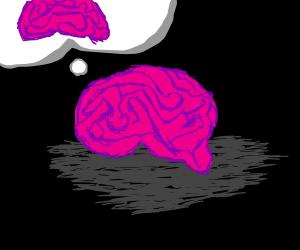 Brain thinking of brain