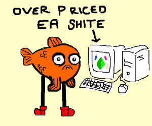 A fish with legs playing the sims on PS