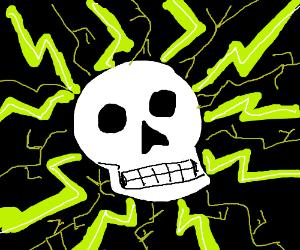 The skull radiates green lightning!