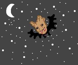 Flying Vampire Groot at Midnight