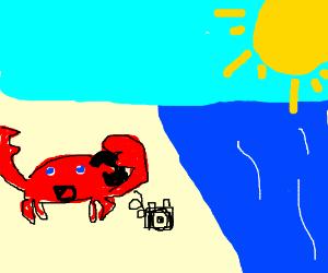 Happy Crab Talks on his phone