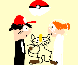 Ash and Misty's wedding, Meowth presides