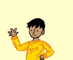 a melow felow dressed in yellow named joe