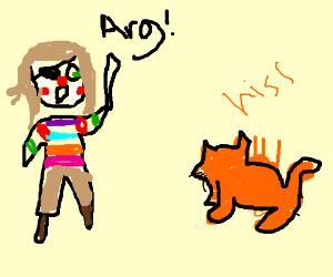 Gay pirate clown fighting a cat