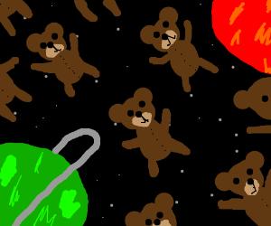 Armada of flying teddy bears in space