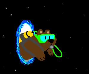 Scuba bear emerges from blue portal