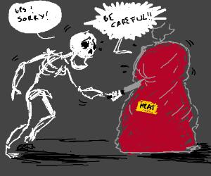 Skeleton accidentally stabs fragile meat bag