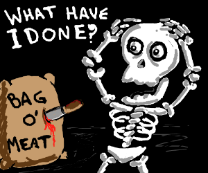 A skeleton accidentally stabs some meatbag.