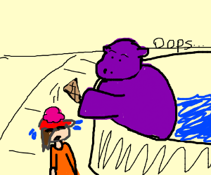 hippo dropped her ice cream on her hat