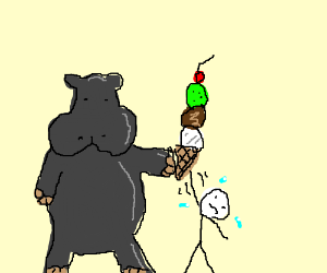 Hippo gives a waffle cone to a nervous person
