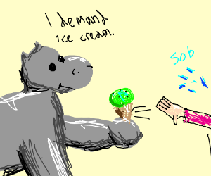 Emotionless  Hipo Steals Ice Cream cone.