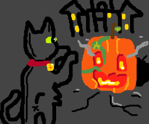 Back cat fights Pumpkinhead.