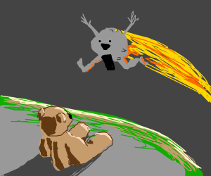 teddy-bear contemplates streaking meteor