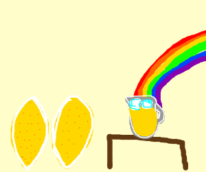 Lemons making lemonade and rainbows making it