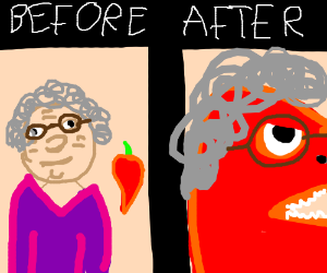 Chili pepper turns grandma into a dragon.