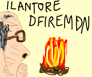 "Man says ""llanTore dFiremdn"" next to campfire"