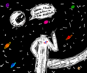 headless astronaut in space