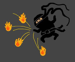 Ninja throwing fireball