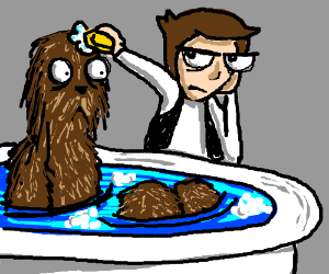 Han Solo gives Chewy a bath