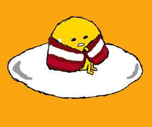 egg woke uses bacon for warmth