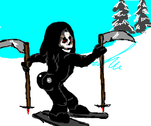 death is ready for snowboarding with his pals