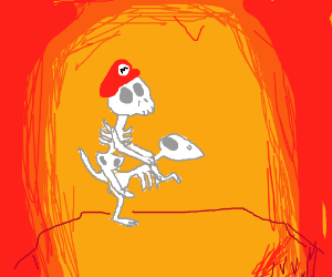 Skeleton-Mario riding Skeleton-Yoshi in hell