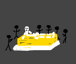Skeleton wakesup onbutter surrounded by people
