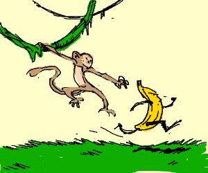 Monkey can't catch anthropomorphic banana