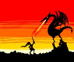 Woman fighting a dragon!