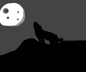 Shadow of howling wolf on moon.
