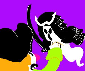 Pirate fighting a spooky samurai