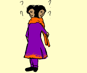 two headed woman is confused
