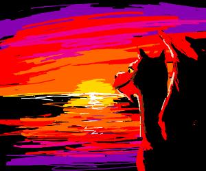 Dragon enjoys a sunset
