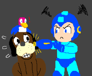 Megaman is about to destroy dog-and-duck duo