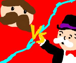 Pringles man versus Monopoly man